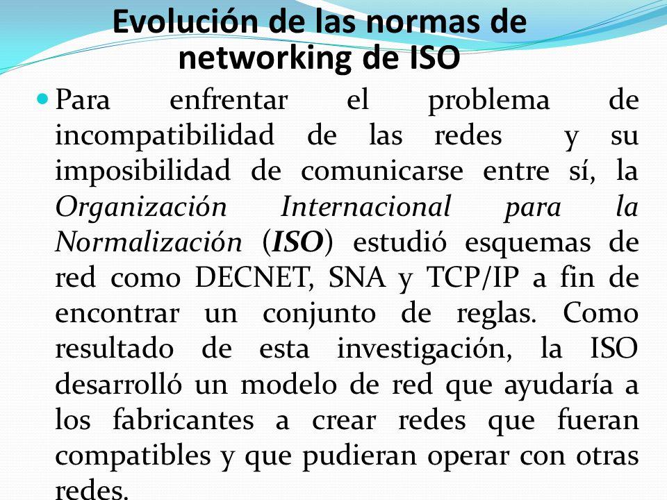Para enfrentar el problema de incompatibilidad de las redes y su imposibilidad de comunicarse entre sí, la Organización Internacional para la Normaliz