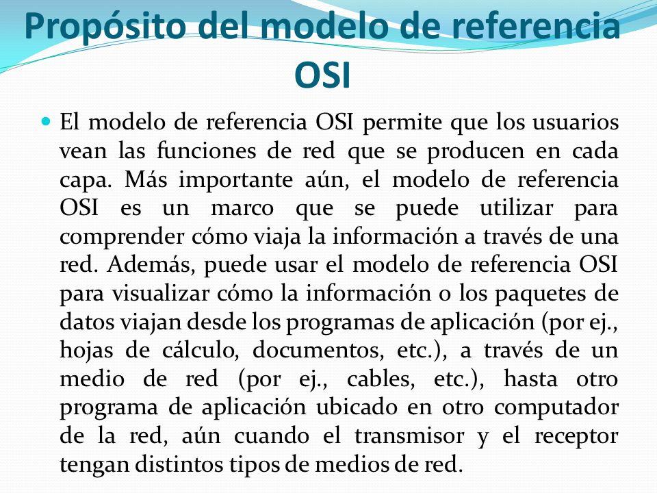 Propósito del modelo de referencia OSI El modelo de referencia OSI permite que los usuarios vean las funciones de red que se producen en cada capa. Má