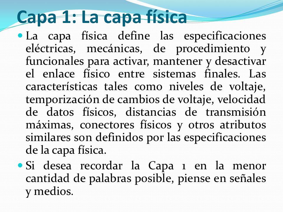Capa 1: La capa física La capa física define las especificaciones eléctricas, mecánicas, de procedimiento y funcionales para activar, mantener y desac