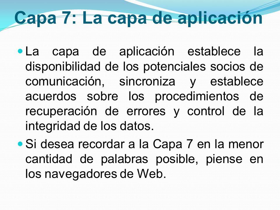 Capa 7: La capa de aplicación La capa de aplicación establece la disponibilidad de los potenciales socios de comunicación, sincroniza y establece acue