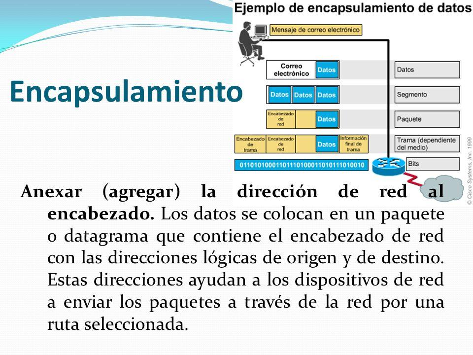 Anexar (agregar) la dirección de red al encabezado. Los datos se colocan en un paquete o datagrama que contiene el encabezado de red con las direccion