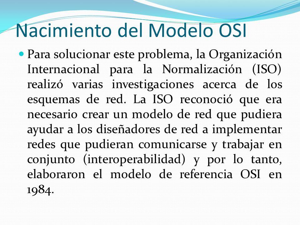 Nacimiento del Modelo OSI Para solucionar este problema, la Organización Internacional para la Normalización (ISO) realizó varias investigaciones acer
