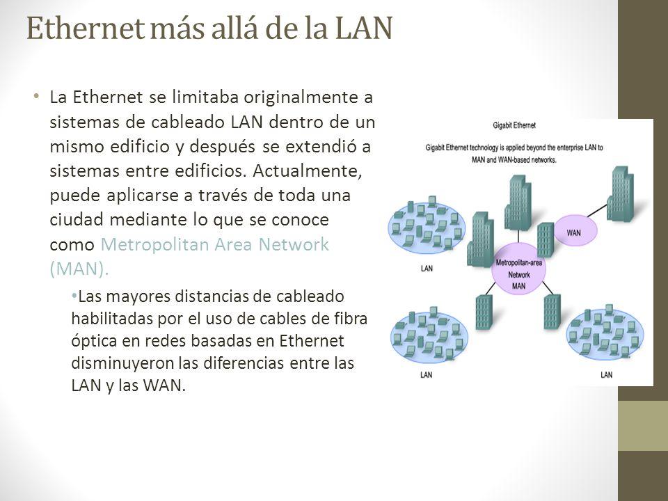 Ethernet más allá de la LAN La Ethernet se limitaba originalmente a sistemas de cableado LAN dentro de un mismo edificio y después se extendió a siste