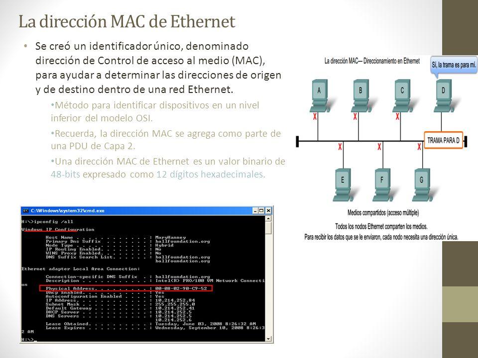 La dirección MAC de Ethernet Se creó un identificador único, denominado dirección de Control de acceso al medio (MAC), para ayudar a determinar las di