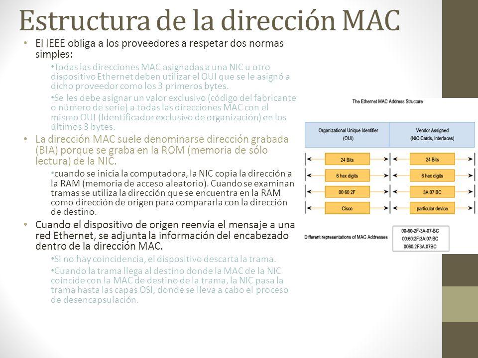 Estructura de la dirección MAC El IEEE obliga a los proveedores a respetar dos normas simples: Todas las direcciones MAC asignadas a una NIC u otro di