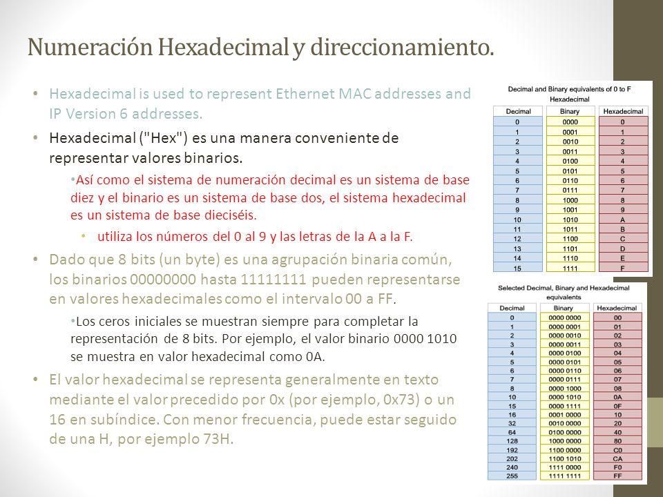 Numeración Hexadecimal y direccionamiento. Hexadecimal is used to represent Ethernet MAC addresses and IP Version 6 addresses. Hexadecimal (