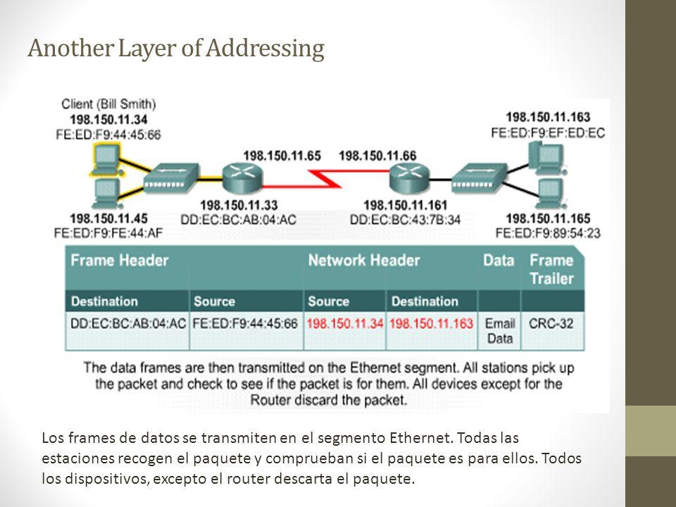 Another Layer of Addressing Los frames de datos se transmiten en el segmento Ethernet. Todas las estaciones recogen el paquete y comprueban si el paqu
