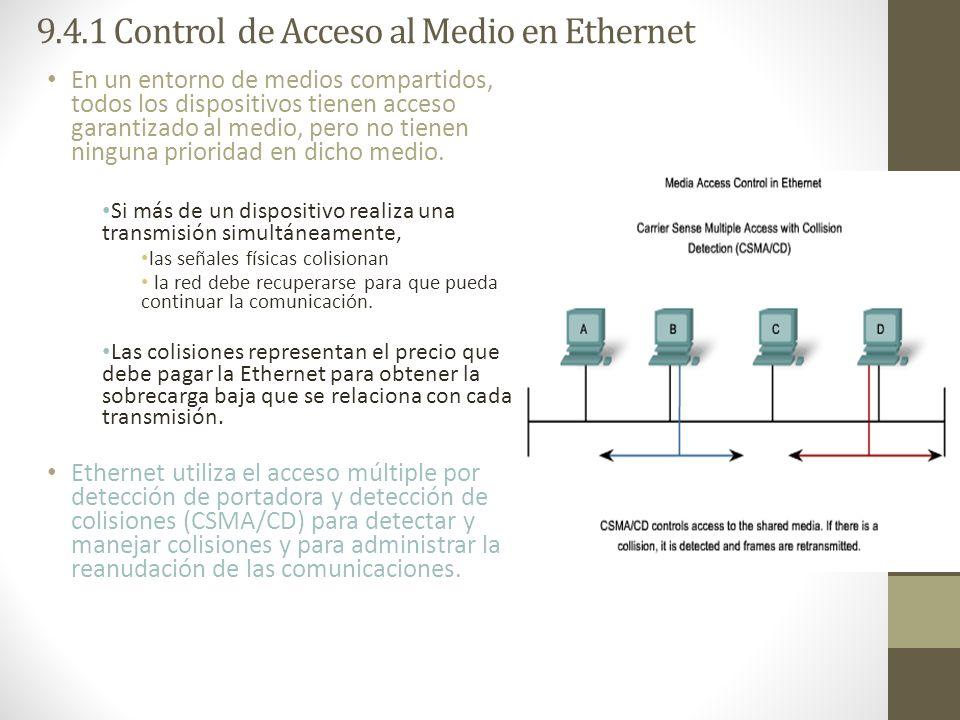 9.4.1 Control de Acceso al Medio en Ethernet En un entorno de medios compartidos, todos los dispositivos tienen acceso garantizado al medio, pero no t