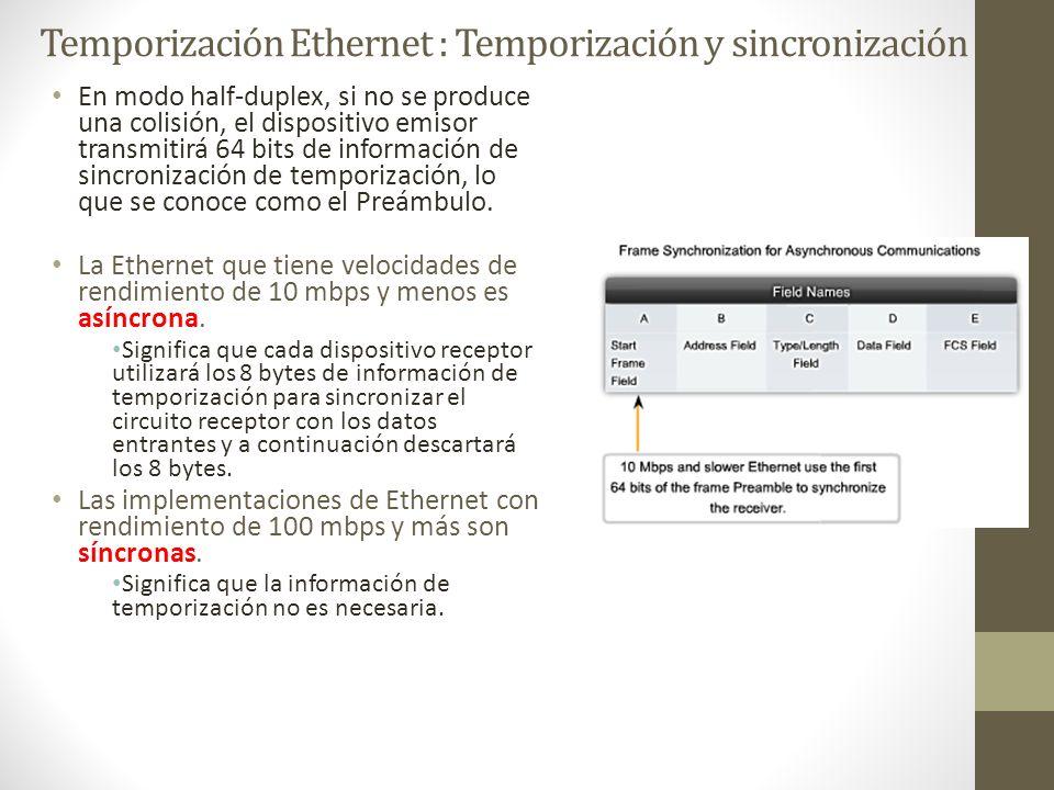 Temporización Ethernet : Temporización y sincronización En modo half-duplex, si no se produce una colisión, el dispositivo emisor transmitirá 64 bits