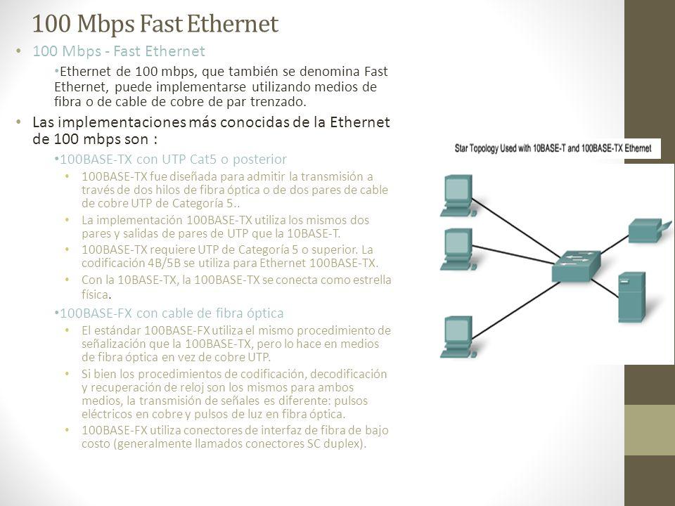 100 Mbps Fast Ethernet 100 Mbps - Fast Ethernet Ethernet de 100 mbps, que también se denomina Fast Ethernet, puede implementarse utilizando medios de