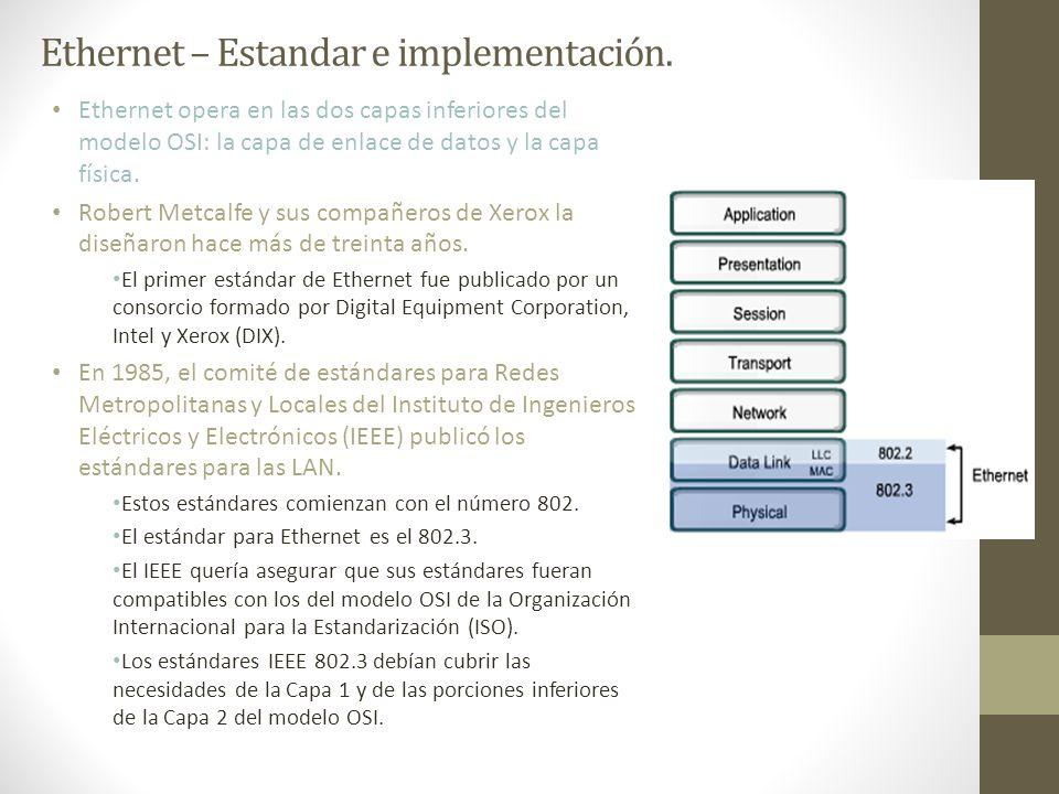 Ethernet – Estandar e implementación. Ethernet opera en las dos capas inferiores del modelo OSI: la capa de enlace de datos y la capa física. Robert M