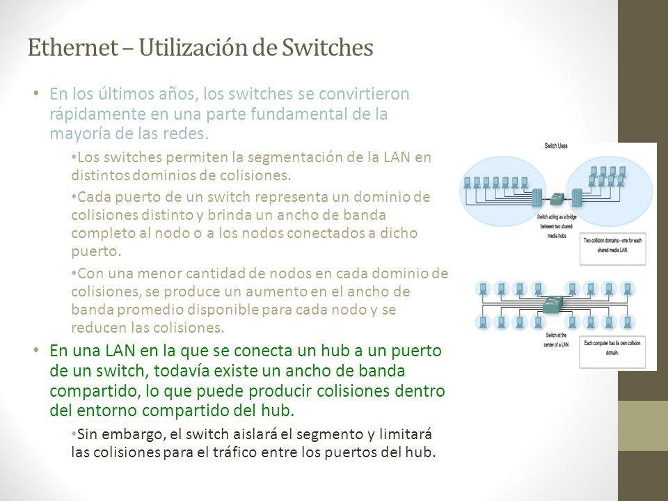 Ethernet – Utilización de Switches En los últimos años, los switches se convirtieron rápidamente en una parte fundamental de la mayoría de las redes.
