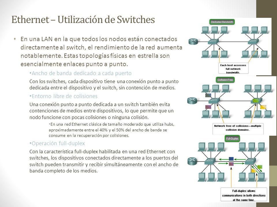 Ethernet – Utilización de Switches En una LAN en la que todos los nodos están conectados directamente al switch, el rendimiento de la red aumenta nota