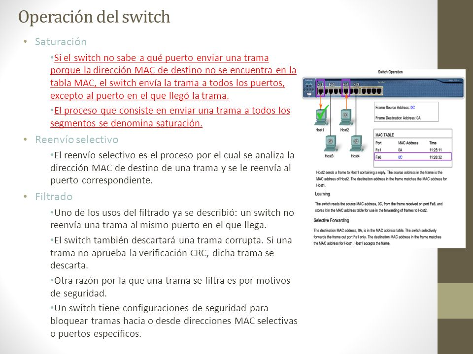 Saturación Si el switch no sabe a qué puerto enviar una trama porque la dirección MAC de destino no se encuentra en la tabla MAC, el switch envía la t