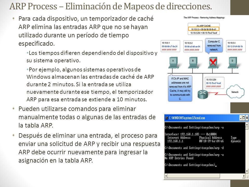 ARP Process – Eliminación de Mapeos de direcciones. Para cada dispositivo, un temporizador de caché ARP elimina las entradas ARP que no se hayan utili