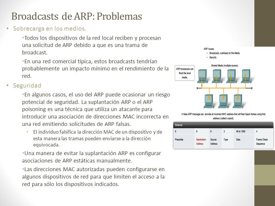 Broadcasts de ARP: Problemas Sobrecarga en los medios. Todos los dispositivos de la red local reciben y procesan una solicitud de ARP debido a que es