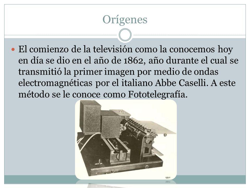 El comienzo de la televisión como la conocemos hoy en día se dio en el año de 1862, año durante el cual se transmitió la primer imagen por medio de on