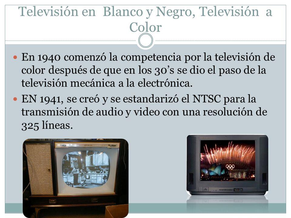 En 1940 comenzó la competencia por la televisión de color después de que en los 30s se dio el paso de la televisión mecánica a la electrónica. EN 1941