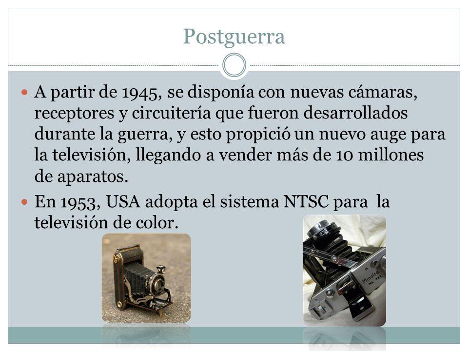 Postguerra A partir de 1945, se disponía con nuevas cámaras, receptores y circuitería que fueron desarrollados durante la guerra, y esto propició un n