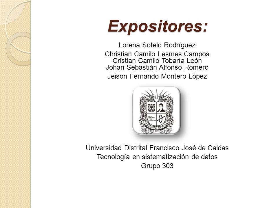 Expositores: Lorena Sotelo Rodríguez Christian Camilo Lesmes Campos Cristian Camilo Tobaría León Johan Sebastián Alfonso Romero Jeison Fernando Monter