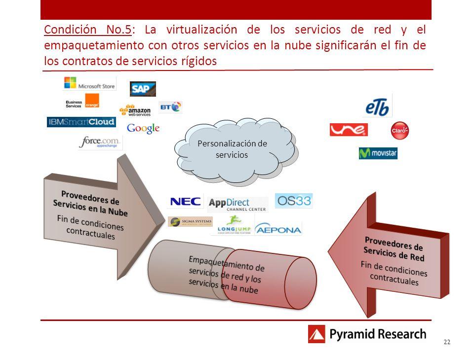 Condición No.5: La virtualización de los servicios de red y el empaquetamiento con otros servicios en la nube significarán el fin de los contratos de