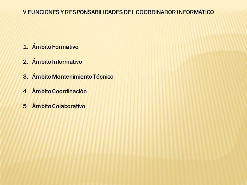 V FUNCIONES Y RESPONSABILIDADES DEL COORDINADOR INFORMÁTICO 1.Ámbito Formativo 2.Ámbito Informativo 3.Ámbito Mantenimiento Técnico 4.Ámbito Coordinaci