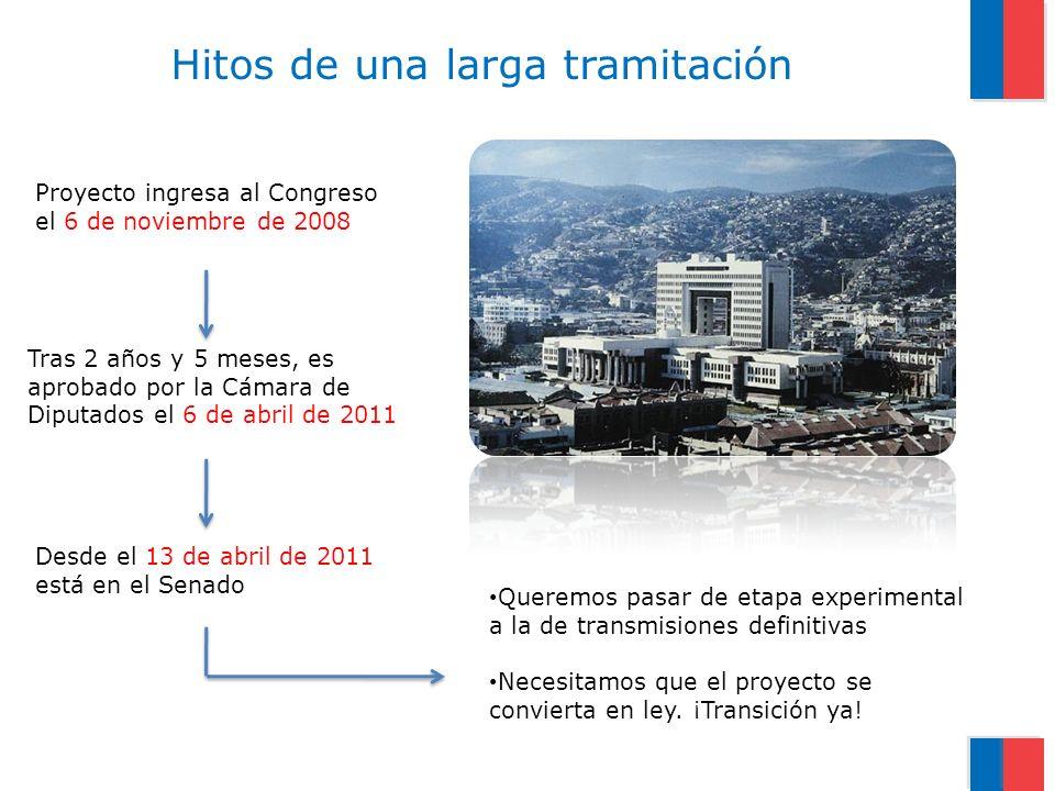 Proyecto ingresa al Congreso el 6 de noviembre de 2008 Tras 2 años y 5 meses, es aprobado por la Cámara de Diputados el 6 de abril de 2011 Hitos de una larga tramitación Queremos pasar de etapa experimental a la de transmisiones definitivas Necesitamos que el proyecto se convierta en ley.