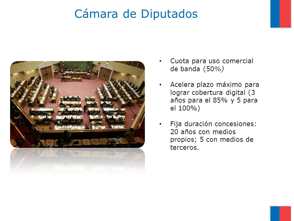 Cámara de Diputados Cuota para uso comercial de banda (50%) Acelera plazo máximo para lograr cobertura digital (3 años para el 85% y 5 para el 100%) Fija duración concesiones: 20 años con medios propios; 5 con medios de terceros.