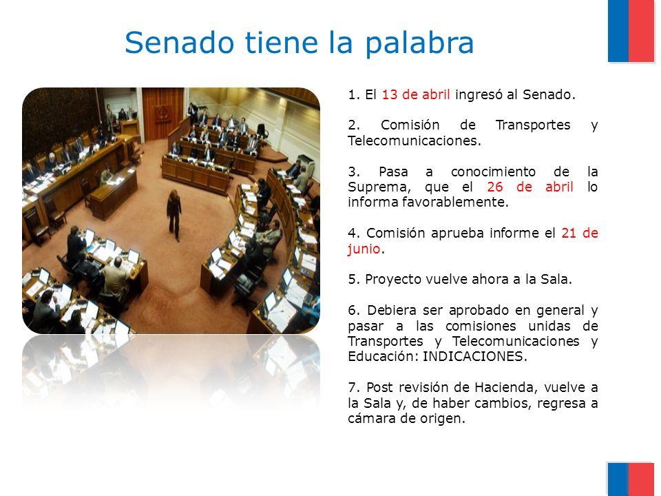 1.El 13 de abril ingresó al Senado. 2. Comisión de Transportes y Telecomunicaciones.