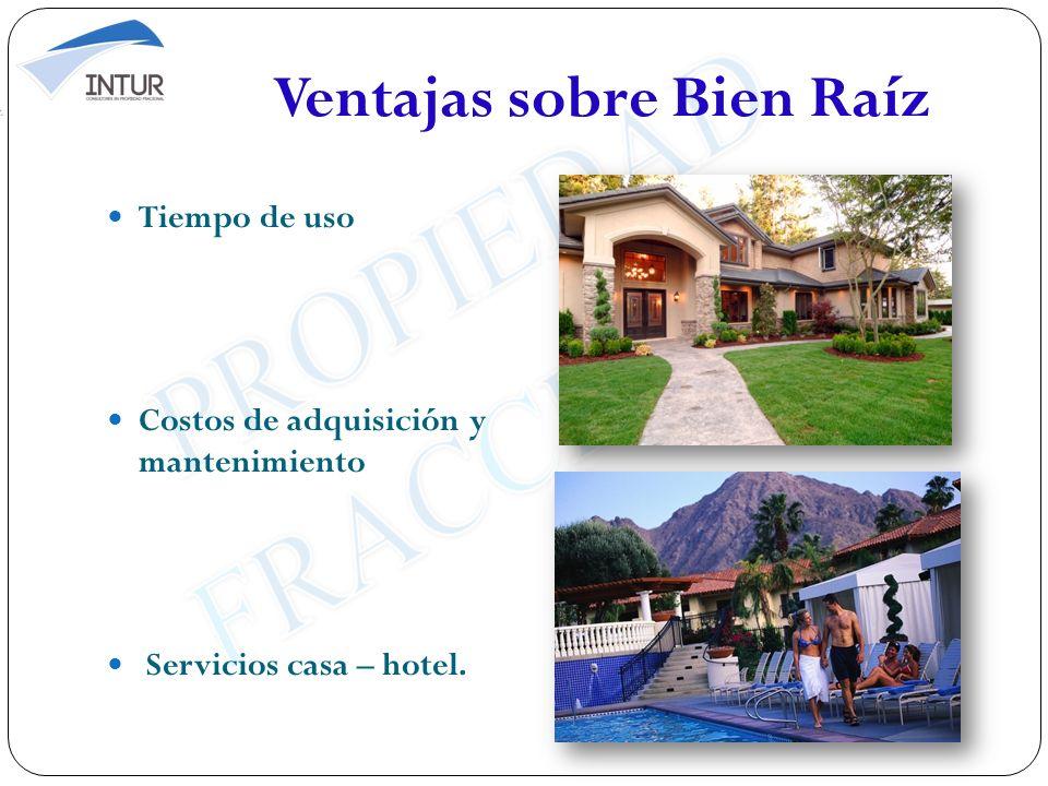 Ventajas sobre Bien Raíz Tiempo de uso Costos de adquisición y mantenimiento Servicios casa – hotel.