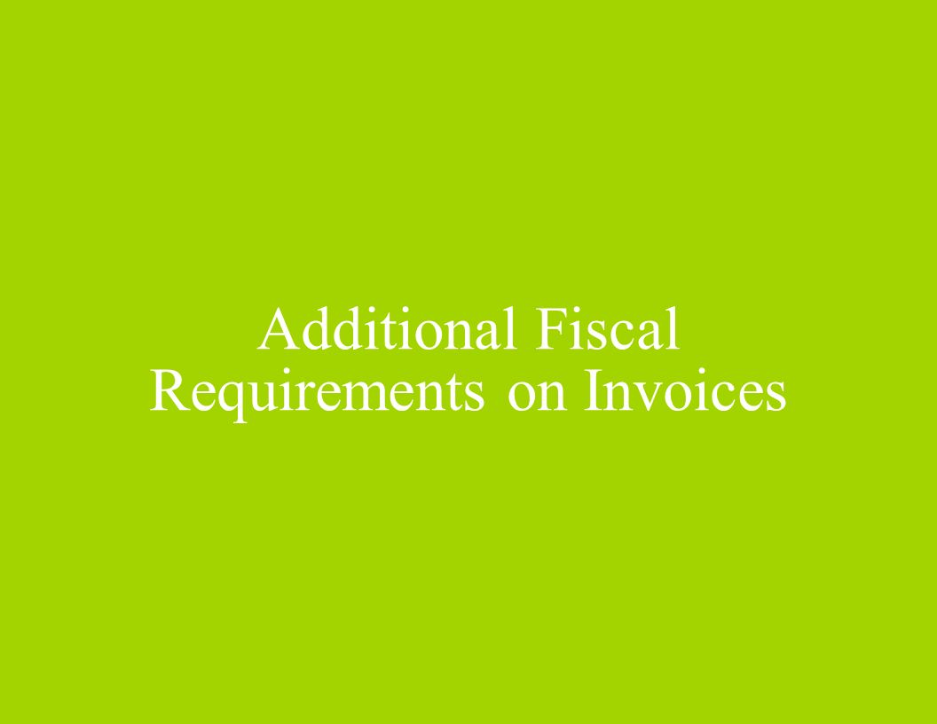 Additional Fiscal Requirements on Invoices