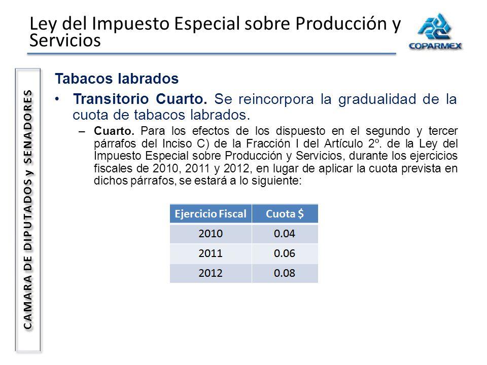 Ley del Impuesto Especial sobre Producción y Servicios CAMARA DE DIPUTADOS y SENADORES Tabacos labrados Transitorio Cuarto. Se reincorpora la graduali