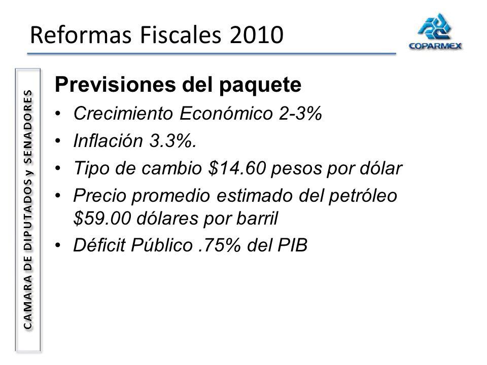 Reformas Fiscales 2010 CAMARA DE DIPUTADOS y SENADORES Previsiones del paquete Crecimiento Económico 2-3% Inflación 3.3%. Tipo de cambio $14.60 pesos