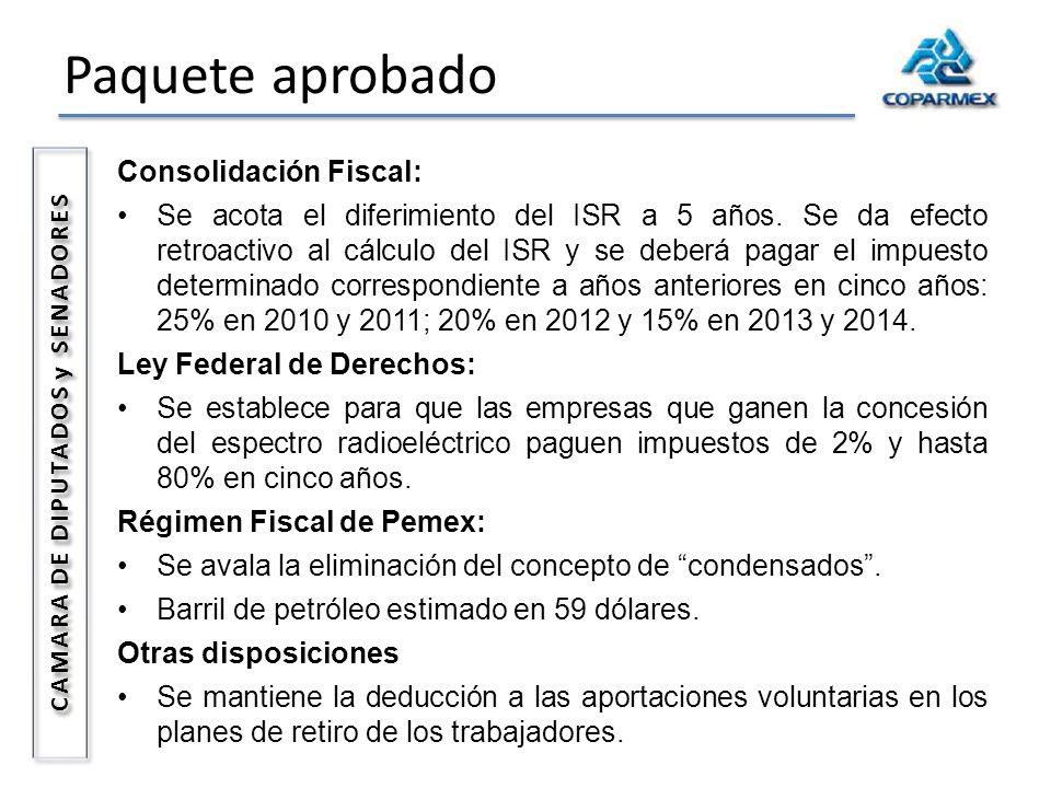 Paquete aprobado CAMARA DE DIPUTADOS y SENADORES Consolidación Fiscal: Se acota el diferimiento del ISR a 5 años. Se da efecto retroactivo al cálculo