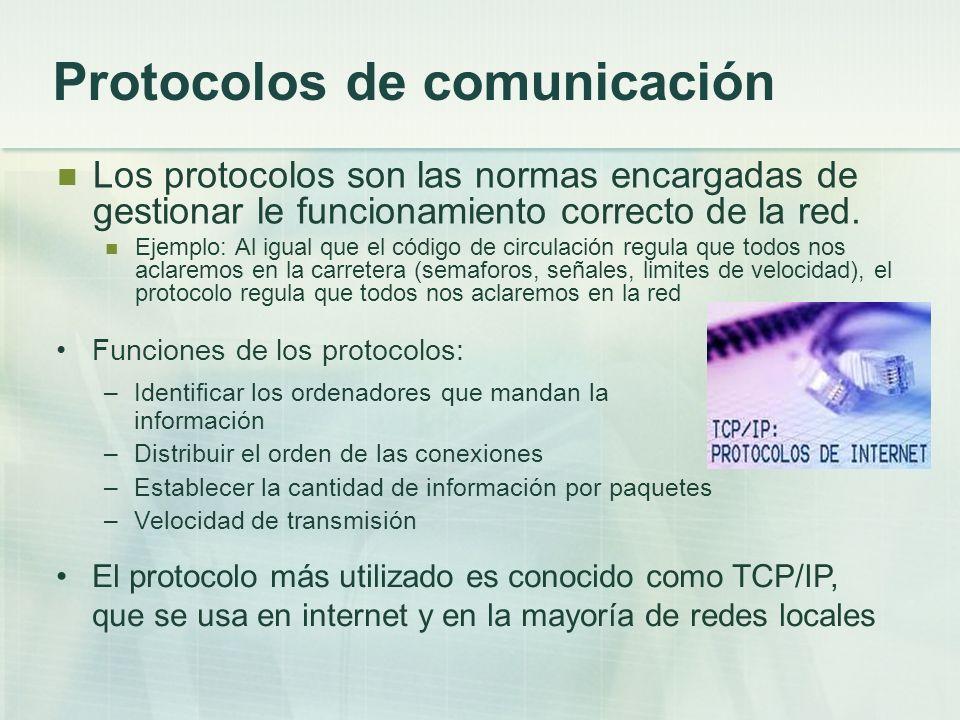 Protocolos de comunicación Los protocolos son las normas encargadas de gestionar le funcionamiento correcto de la red. Ejemplo: Al igual que el código
