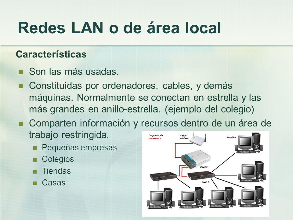 Redes LAN o de área local Características Son las más usadas. Constituidas por ordenadores, cables, y demás máquinas. Normalmente se conectan en estre