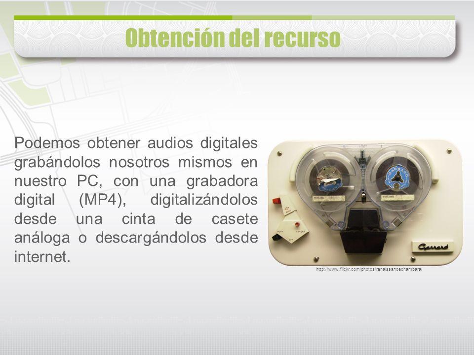 Podemos obtener audios digitales grabándolos nosotros mismos en nuestro PC, con una grabadora digital (MP4), digitalizándolos desde una cinta de caset