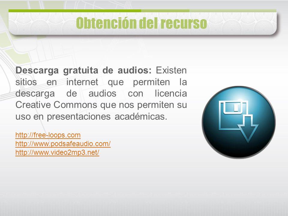 Descarga gratuita de audios: Existen sitios en internet que permiten la descarga de audios con licencia Creative Commons que nos permiten su uso en pr