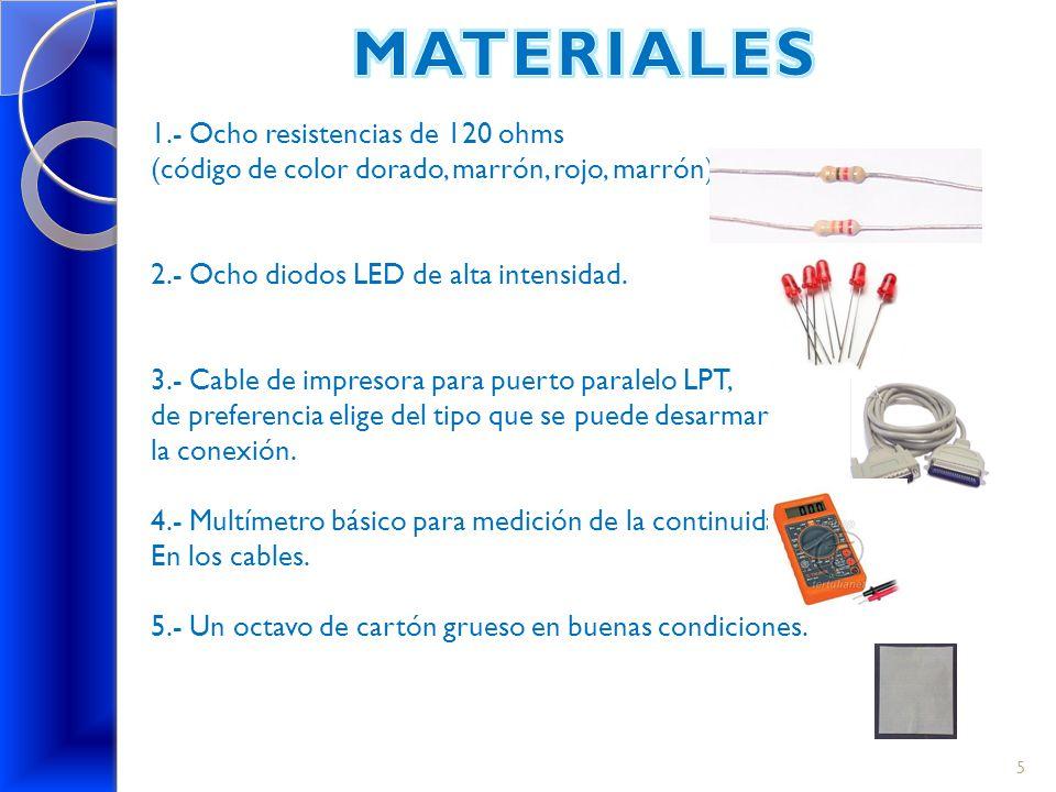 1.- Ocho resistencias de 120 ohms (código de color dorado, marrón, rojo, marrón). 2.- Ocho diodos LED de alta intensidad. 3.- Cable de impresora para