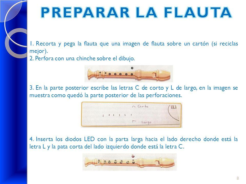 1. Recorta y pega la flauta que una imagen de flauta sobre un cartón (si reciclas mejor). 2. Perfora con una chinche sobre el dibujo. 3. En la parte p