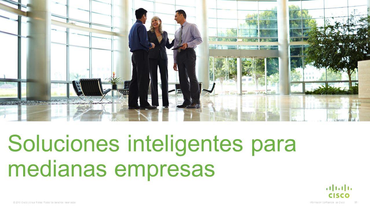 © 2010 Cisco y/o sus filiales. Todos los derechos reservados. Información confidencial de Cisco 25 Soluciones inteligentes para medianas empresas