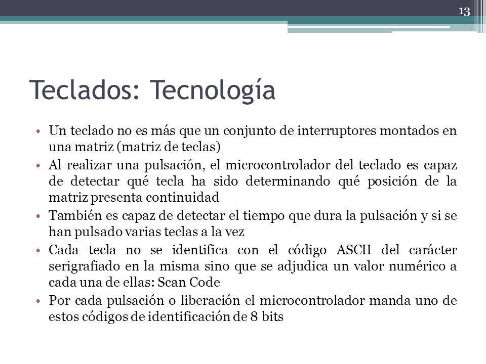 Teclados: Tecnología Un teclado no es más que un conjunto de interruptores montados en una matriz (matriz de teclas) Al realizar una pulsación, el mic