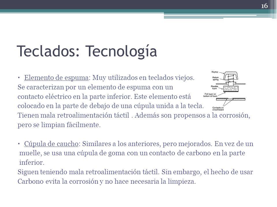 Teclados: Tecnología Elemento de espuma: Muy utilizados en teclados viejos. Se caracterizan por un elemento de espuma con un contacto eléctrico en la
