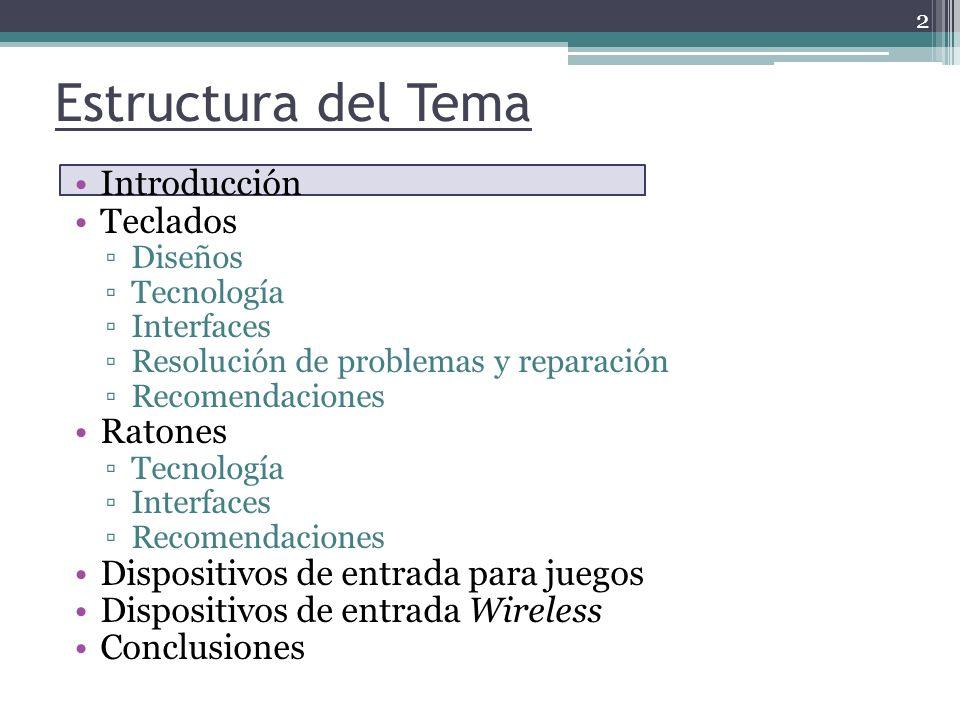 Estructura del Tema Introducción Teclados Diseños Tecnología Interfaces Resolución de problemas y reparación Recomendaciones Ratones Tecnología Interf
