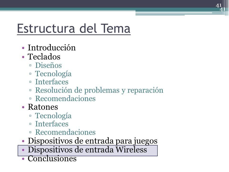 41 Estructura del Tema Introducción Teclados Diseños Tecnología Interfaces Resolución de problemas y reparación Recomendaciones Ratones Tecnología Int