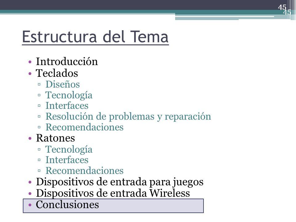 45 Estructura del Tema Introducción Teclados Diseños Tecnología Interfaces Resolución de problemas y reparación Recomendaciones Ratones Tecnología Int
