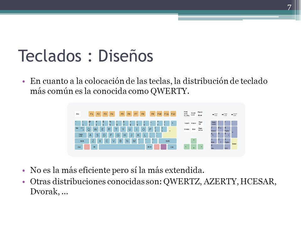Teclados : Diseños En cuanto a la colocación de las teclas, la distribución de teclado más común es la conocida como QWERTY. No es la más eficiente pe