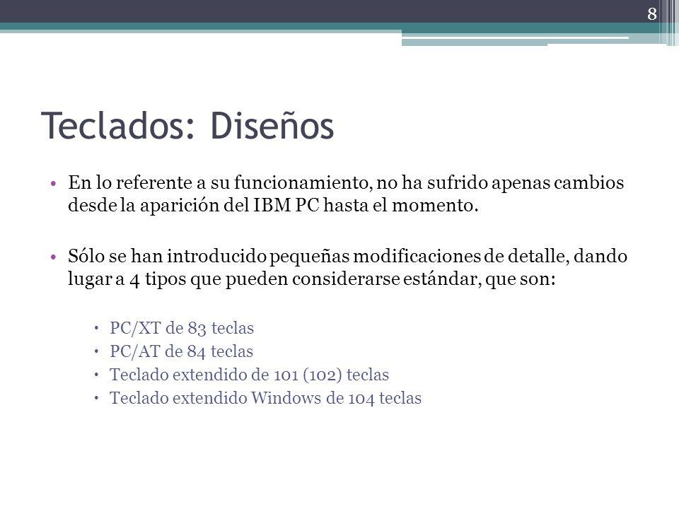 Teclados: Interfaces Aunque existen diversos modos de conectar el cable del teclado, todos deben usar uno de los siguientes conectores para su interfaz: Conector DIN de 5 pines: se encuentra sólo en los sistemas antiguos que utilizan placas base Baby-AT.