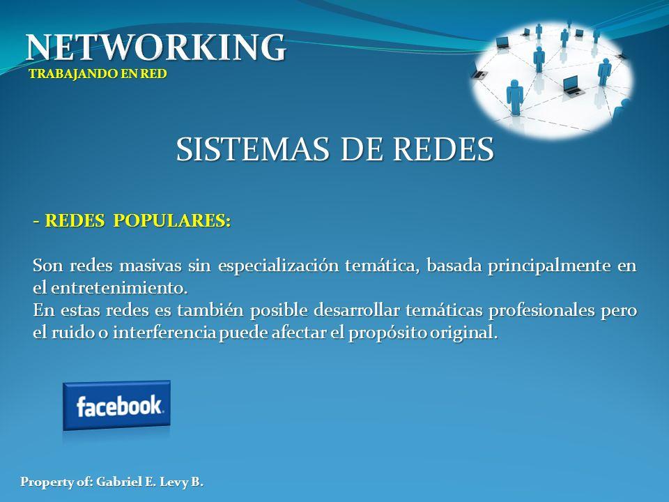 TRABAJANDO EN RED Property of: Gabriel E. Levy B. SISTEMAS DE REDES - REDES POPULARES: Son redes masivas sin especialización temática, basada principa