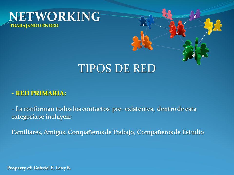 TRABAJANDO EN RED Property of: Gabriel E. Levy B. TIPOS DE RED - RED PRIMARIA: - La conforman todos los contactos pre–existentes, dentro de esta categ
